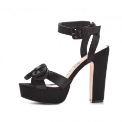 Satenske sandale na štiklu LS39800 crne