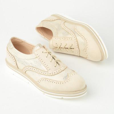 Ženske cipele na pertlanje L055202 bež