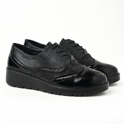 Ženske cipele na pertlanje L081924 crne