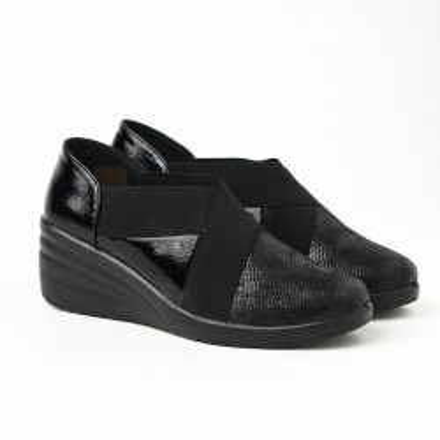 Ženske cipele na pertlanje L081932 crne
