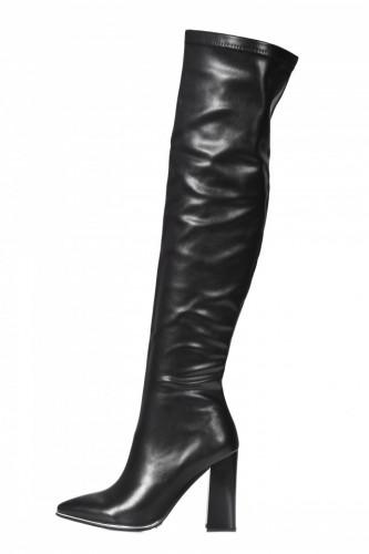 Čizme preko kolena na štiklu LX322003 crne