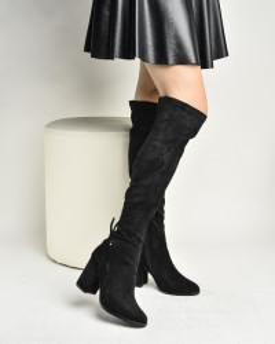 Čizme preko kolena na štiklu LX771927 crne