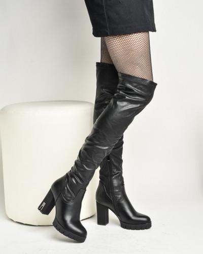 Čizme preko kolena na štiklu LX85063-1 crne