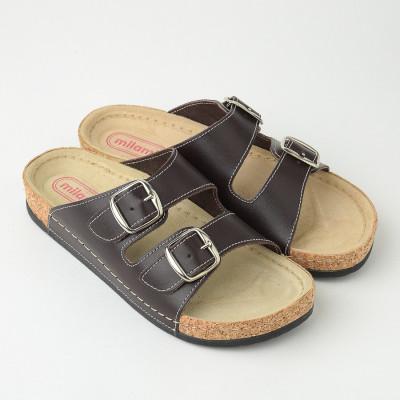 Kožne anatomske papuče 512 tamno braon
