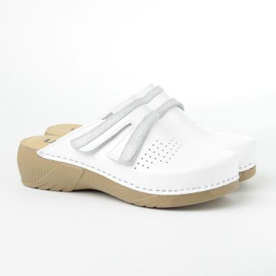 Kožne papuče/klompe 3200 bele
