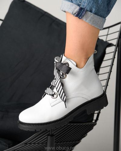 Kožne poluduboke cipele A2754/8122 bele
