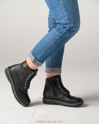Kožne poluduboke cipele ALB301 crna