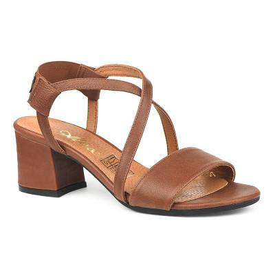 Kožne sandale na škilu 9-832 braon