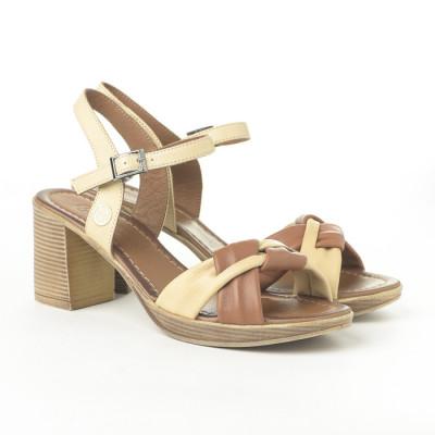 Kožne sandale na štiklu H3504/R311 bež-kamel