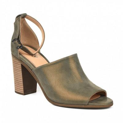 Kožne sandale na štiklu S3551 maslinaste