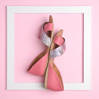 Kožne ženske baletanke AL116 pink/snk