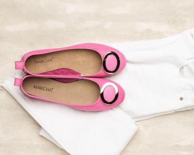 Kožne ženske baletanke BT2017 pink
