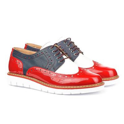 Kožne ženske cipele 6-910 crvene