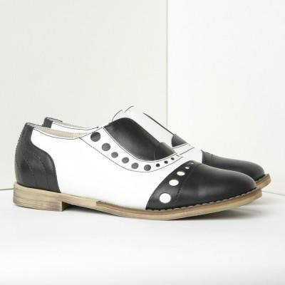 Kožne ženske cipele B17/10 crno-bele