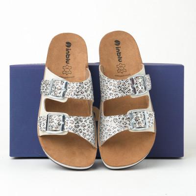 Ravne papuče CP000010 bele sa printom