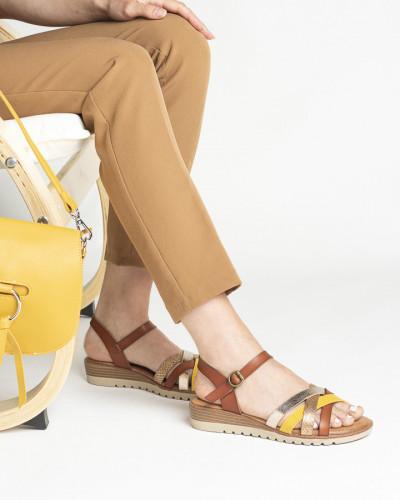 Ravne sandale S408 kamel/žute
