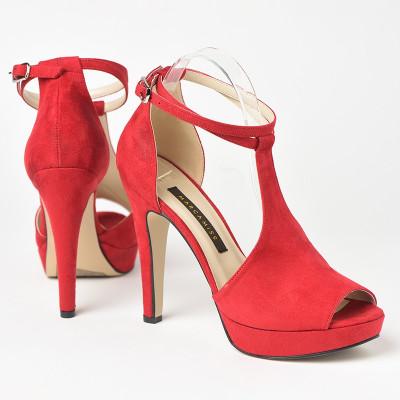 Sandale na štiklu 7541 crvene