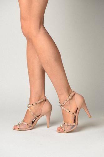 Sandale na štiklu B195-B515 bež