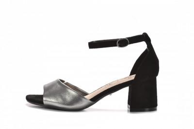 Sandale na štiklu LS242052 tamno srebrne