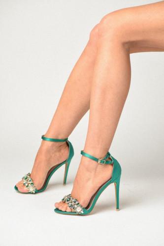 Sandale na štiklu S19503 zelene