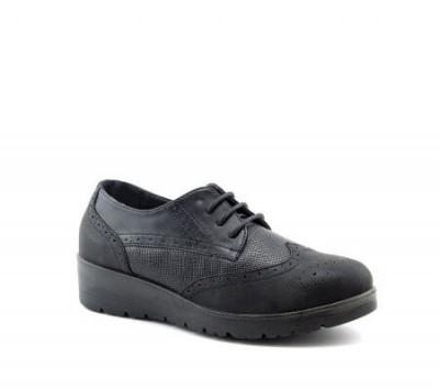 Ženske cipele na pertlanje L085554 crne