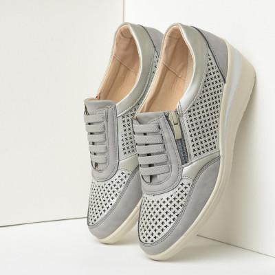 Ženske cipele/patike na ortoped petu L082101 sivo-srebrne