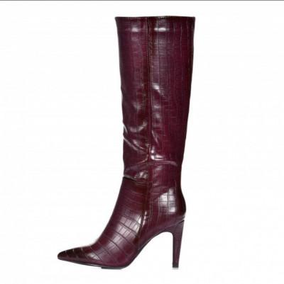Ženske čizme na stiklu LX562002 bordo kroko