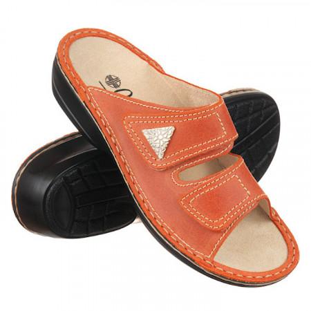 Papuci dama piele naturala ortopedici Ortomed 3700-P79 portocalii