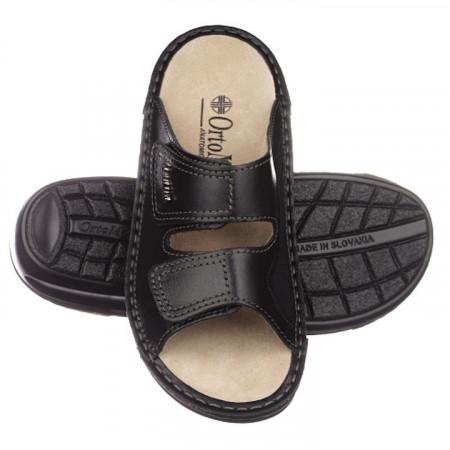 Papuci ortopedici monturi piele negri OrtoMed 3701-P134