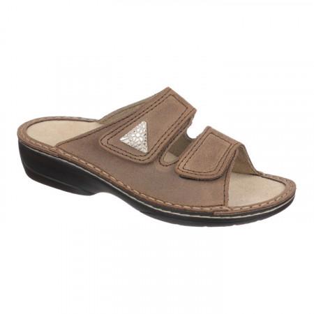 Papuci ortopedici piele naturala dama OrtoMed 3700-P77 maro