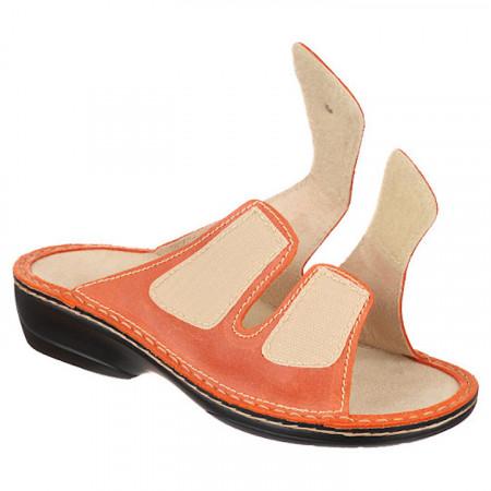 Papuci dama piele naturala ortopedici Ortomed 3700-P79 reglabili