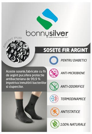 Sosete pentru diabetici albe cu fir de argint 22% BonnySilver® 511