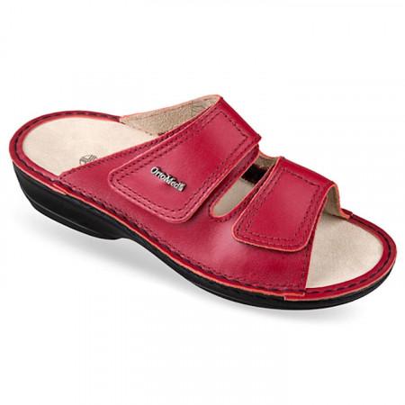 Papuci ortopedici Hallux Valgus piele rosii OrtoMed 3701-P94