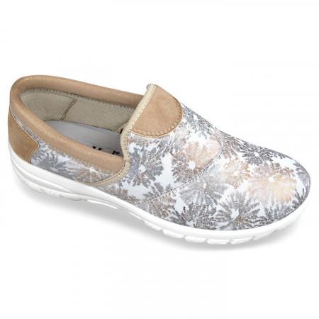 Pantofi sport ortopedici dama albi aurii calapod lat OrtoMed 4001-S56