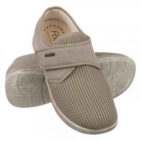 Pantofi de vara ortopedici barbati PodoWell Pierrick bej material fagure