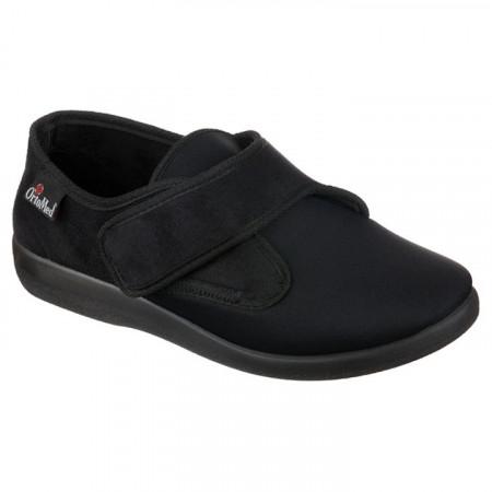 Pantofi ortopedici medicali negri dama barbati material stretch OrtoMed 6013-T77