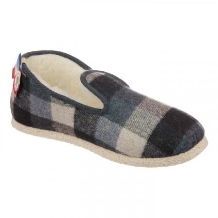 Pantofi de casa barbati lana naturala 100% Fargeot Francky carouri