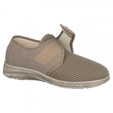 Pantofi de vara ortopedici barbati PodoWell Pierrick bej bumbac si material fagure