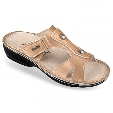 Papuci ortopedici piele naturala aurii dama 3706-P140