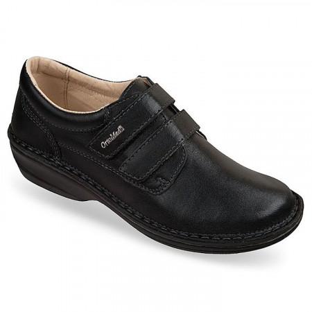 Pantofi ortopedici piele negri reglabili dama OrtoMed 3740-P134