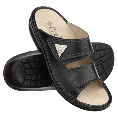 Papuci vara dama piele naturala ortopedici negri Ortomed 3700-P134