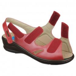 Sandale ortopedice piele rosii PodoWell Dieppe reglabile
