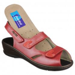 Sandale ortopedice piele rosii PodoWell Dieppe brant detasabil