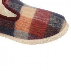 Pantofi de casa femei lana naturala 100% Fargeot Francky carouri