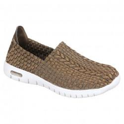 Pantofi sport ortopedici femei material stretch PodoWell Vegas maro aurii