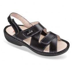 Sandale pentru monturi / Hallux Valgus piele negre OrtoMed 3703-P134