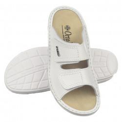 Papuci vara dama piele naturala ortopedici albi Ortomed 3700-P53 reglabili