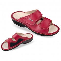 Papuci ortopedici Hallux Valgus piele si stretch rosii OrtoMed 3701-P94