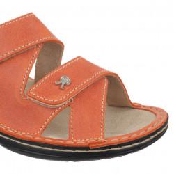 Papuci dama piele naturala ortopedici Ortomed 3704-P79 portocalii