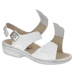 Sandale ortopedice piele albe dama OrtoMed 3728-P129